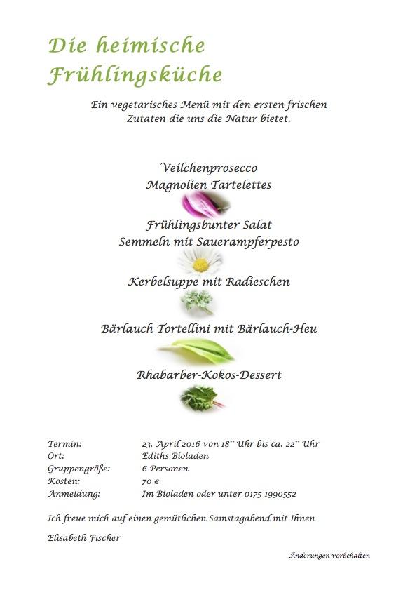 Kochkurs Bioladen Biberbach Frühlingsküche Essen Biocafe