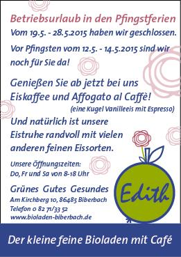 Urlaub Bioladen Biberbach Pfingsten 2016