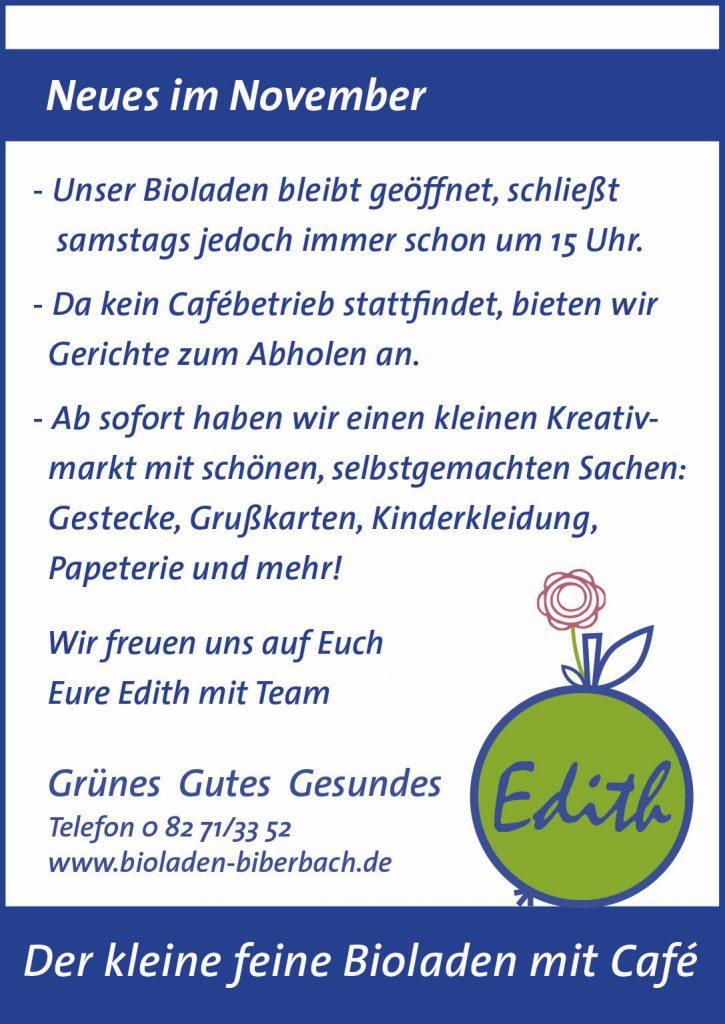 Bioladen Edith Neidlinger Biberbach Geschenke Selbstgerechtes Kreativmarkt November 2020 und Essen zum Abholen